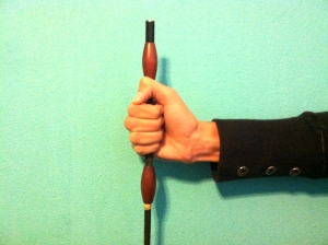 The whip should be held in place by a combination of your palm and lower fingers, primarily the pinky.