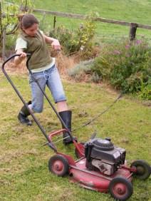 starting lawnmower